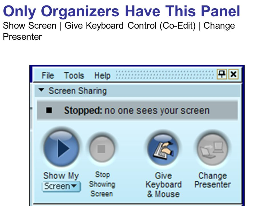 Only Organizers Have This Panel