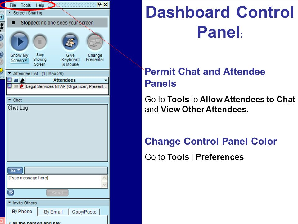 Dashboard Control Panel:
