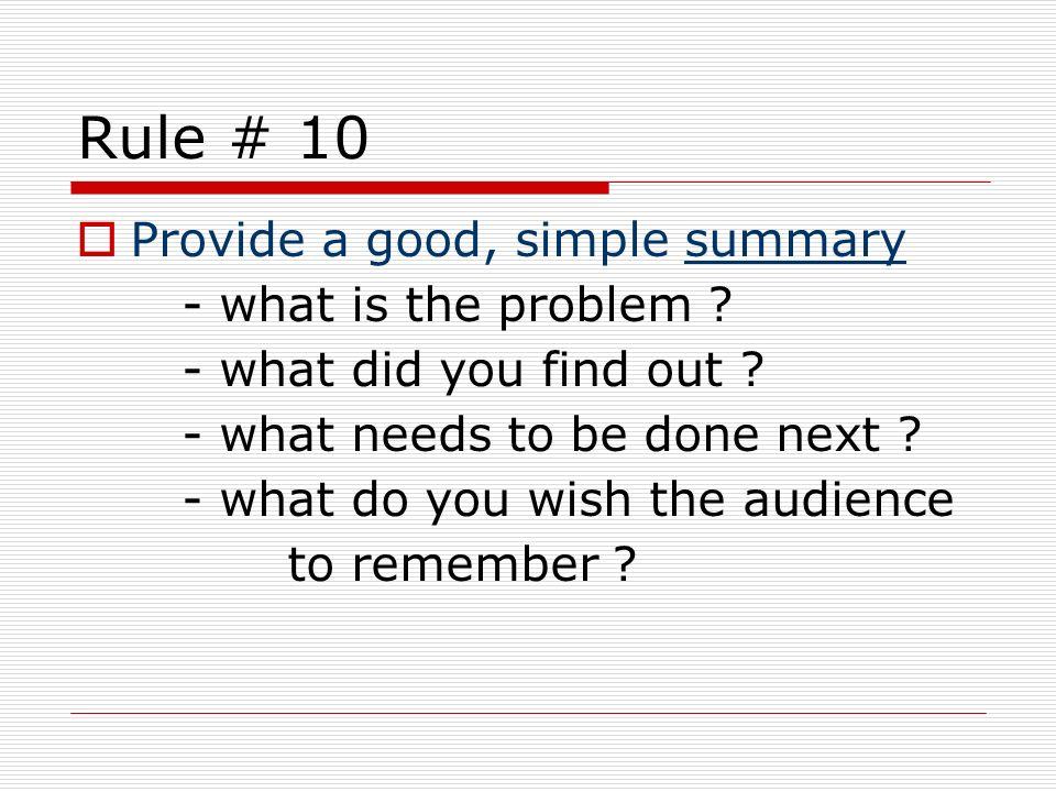 Rule # 10