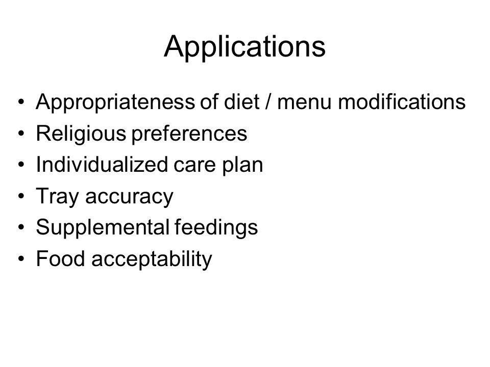Applications Appropriateness of diet / menu modifications