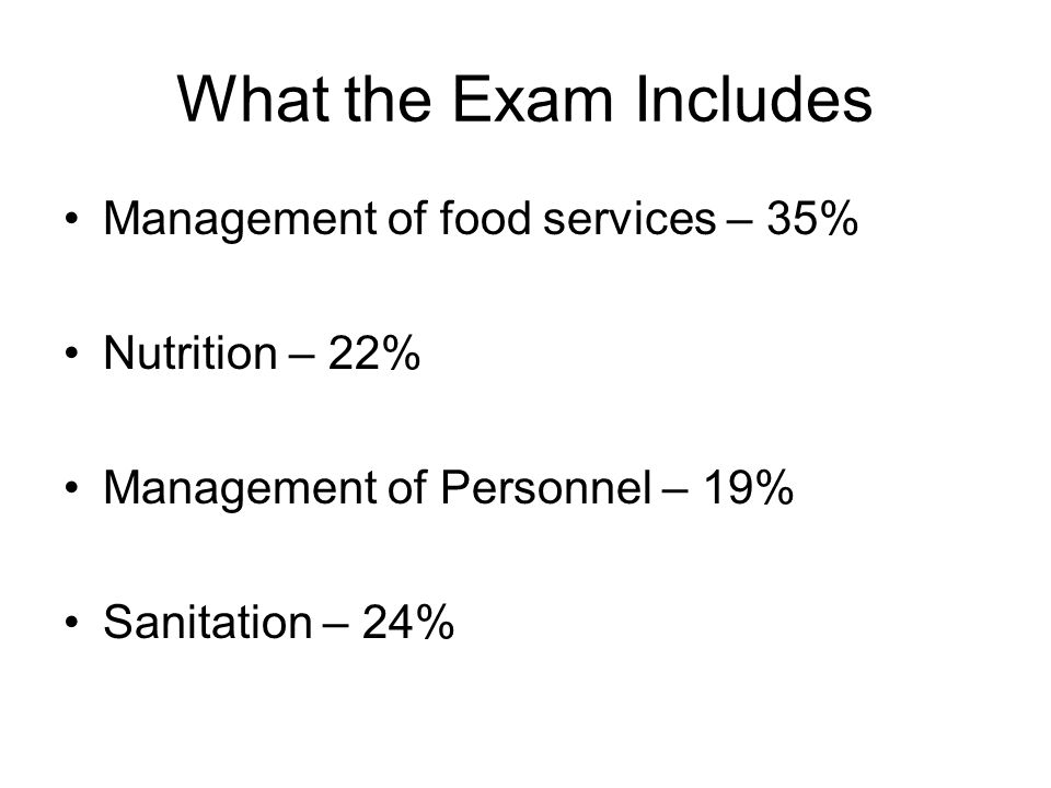 What the Exam Includes Management of food services – 35%