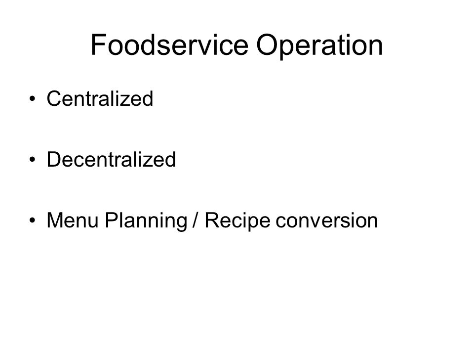 Foodservice Operation