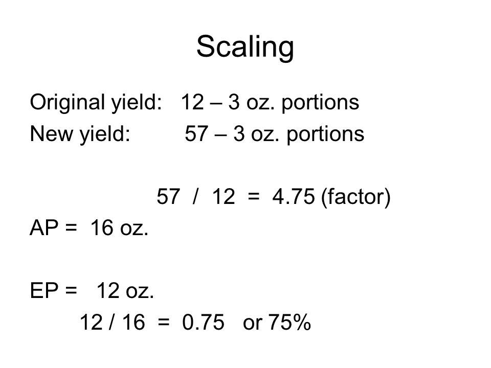Scaling Original yield: 12 – 3 oz. portions