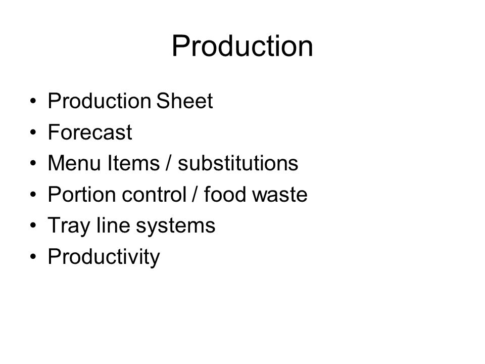 Production Production Sheet Forecast Menu Items / substitutions
