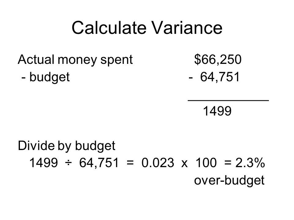 Calculate Variance Actual money spent $66,250 - budget - 64,751