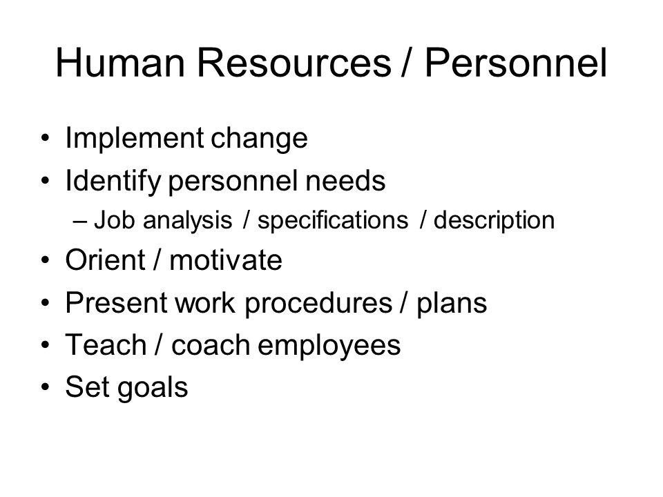 Human Resources / Personnel