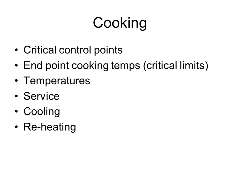 Cooking Critical control points