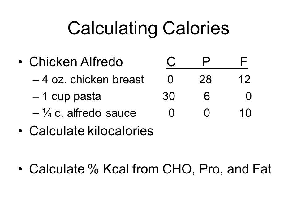 Calculating Calories Chicken Alfredo C P F Calculate kilocalories