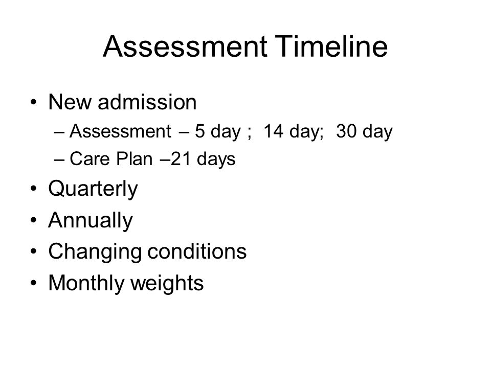 Assessment Timeline New admission Quarterly Annually