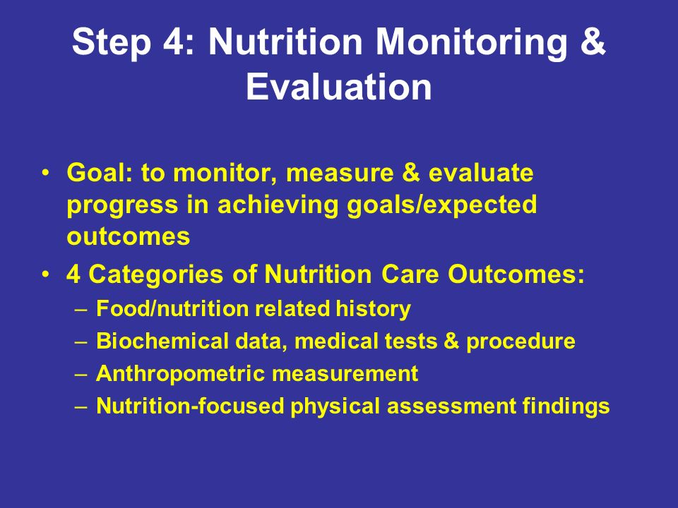 Step 4: Nutrition Monitoring & Evaluation