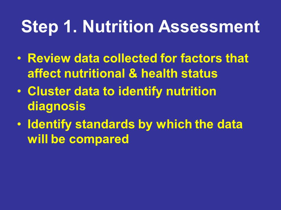 Step 1. Nutrition Assessment