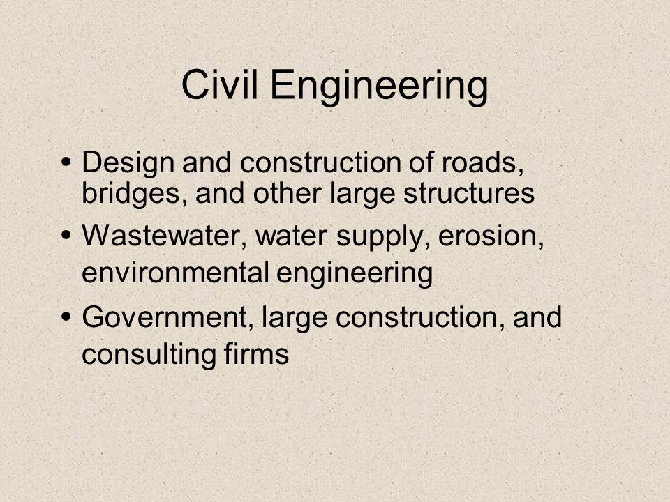 Civil Engineering Design and construction of roads, bridges, and other large structures.