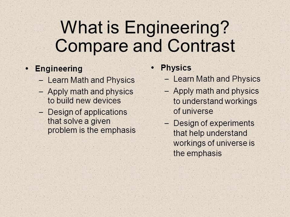 What is Engineering Compare and Contrast