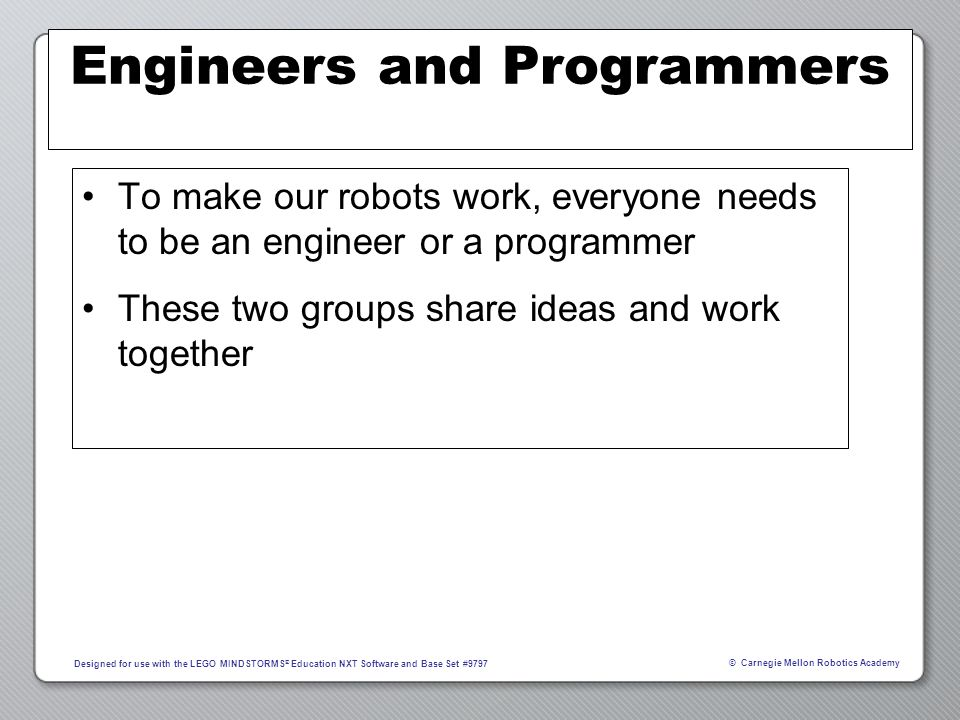 Engineers and Programmers