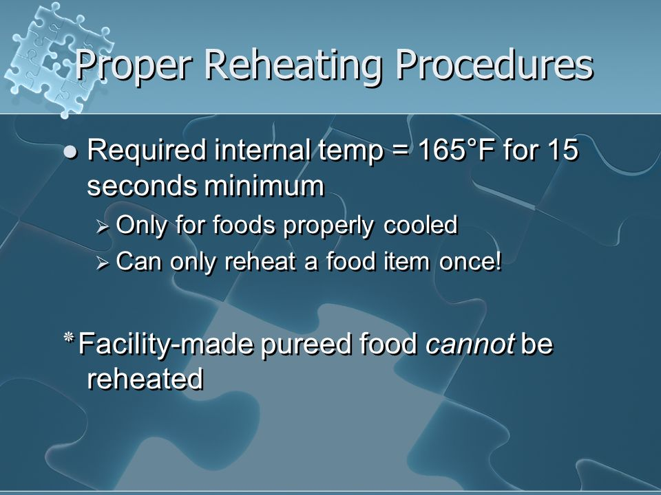 Proper Reheating Procedures