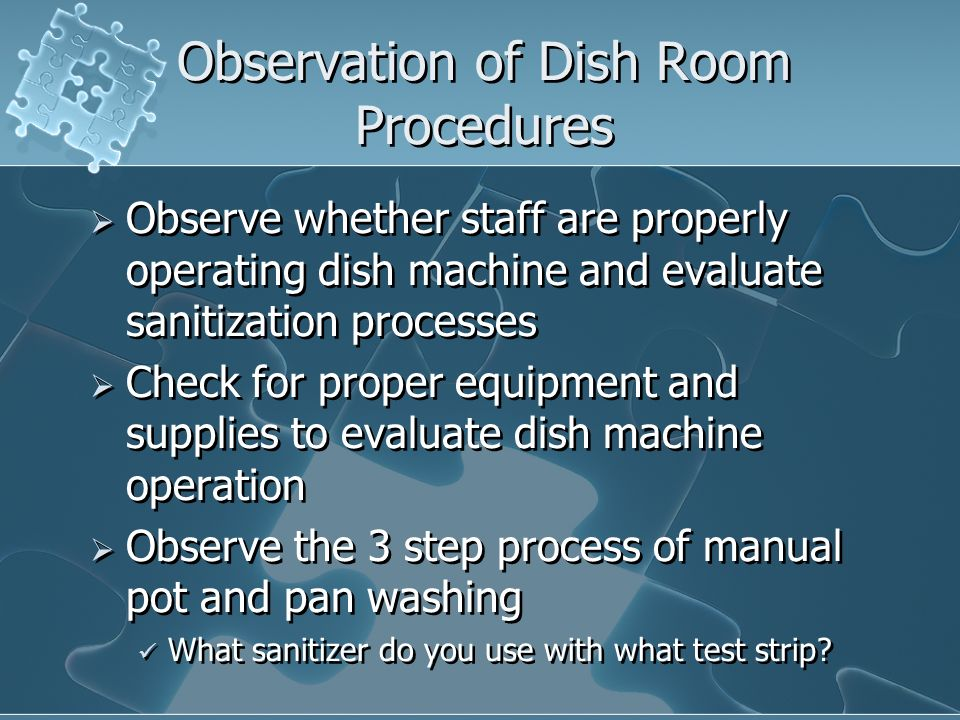 Observation of Dish Room Procedures
