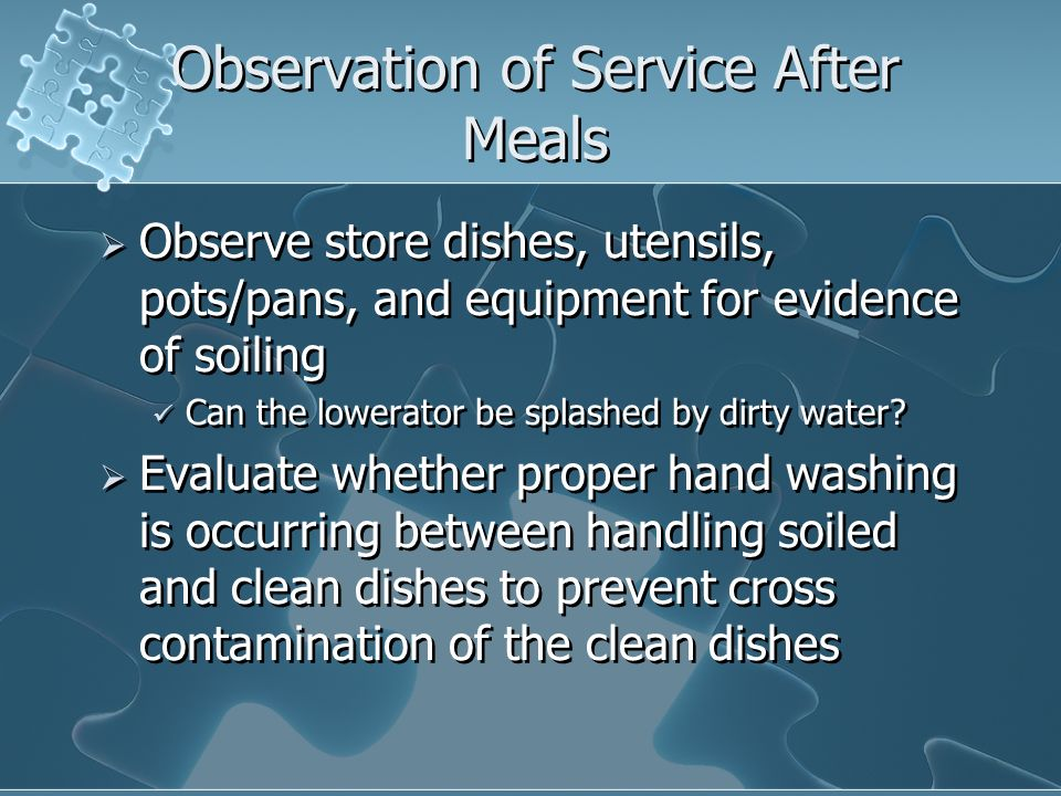 Observation of Service After Meals