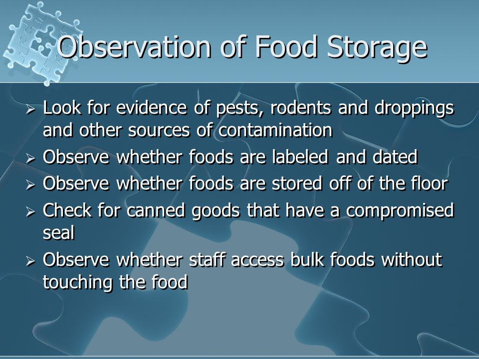 Observation of Food Storage