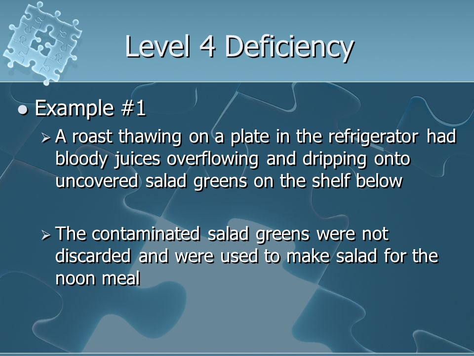 Level 4 Deficiency Example #1