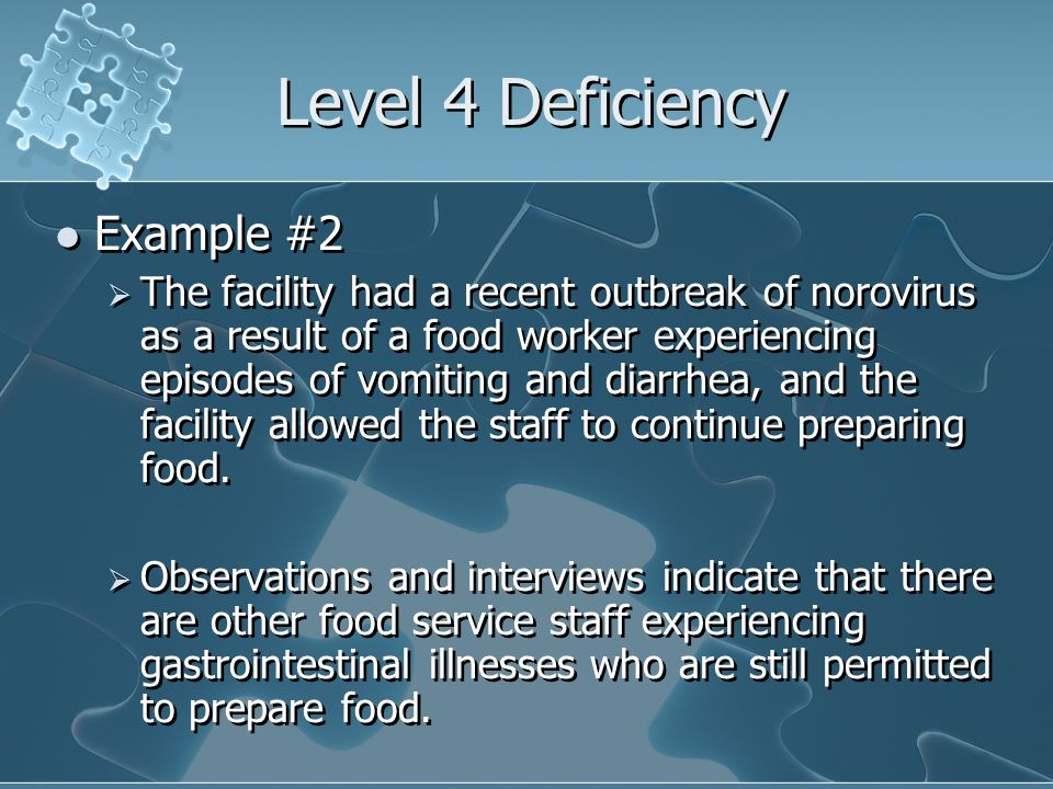 Level 4 Deficiency Example #2