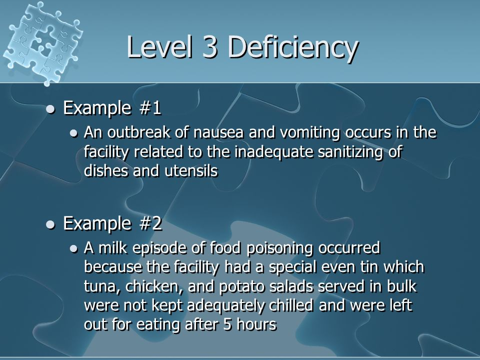 Level 3 Deficiency Example #1 Example #2