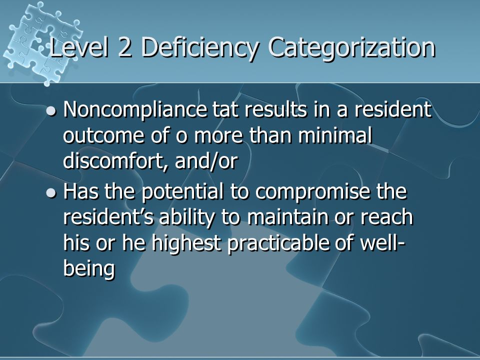 Level 2 Deficiency Categorization