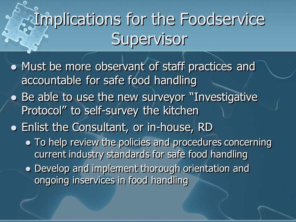 Implications for the Foodservice Supervisor