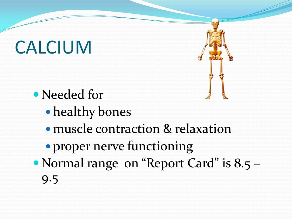 CALCIUM Needed for healthy bones muscle contraction & relaxation