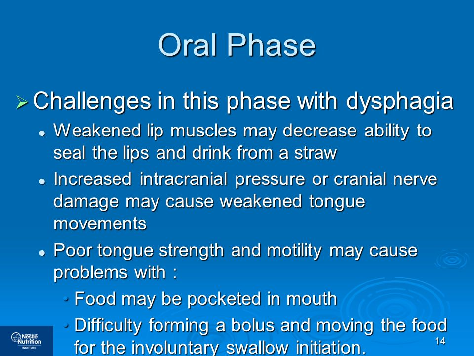 Oral Phase Challenges in this phase with dysphagia