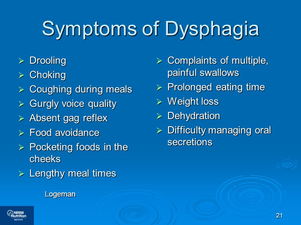 Symptoms of Dysphagia Drooling Choking Coughing during meals