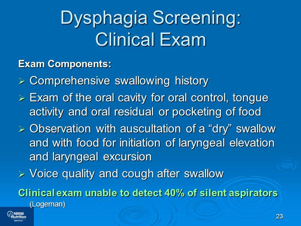 Dysphagia Screening: Clinical Exam