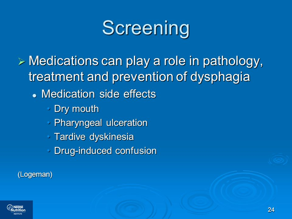Screening Medications can play a role in pathology, treatment and prevention of dysphagia. Medication side effects.
