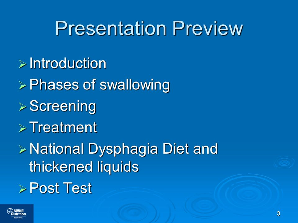 Presentation Preview Introduction Phases of swallowing Screening