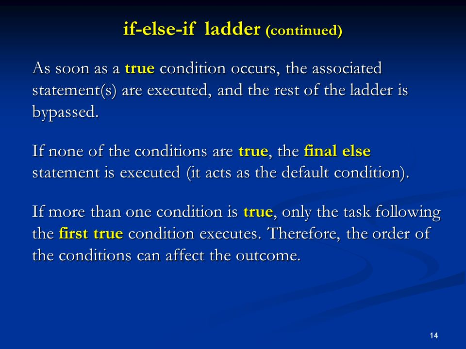 if-else-if ladder (continued)