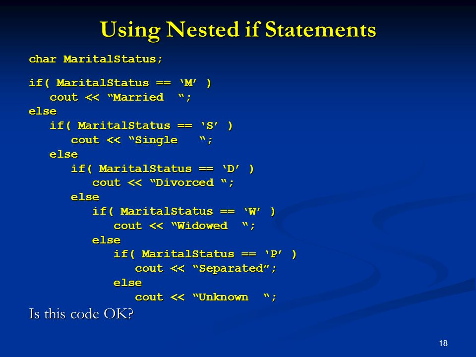 Using Nested if Statements