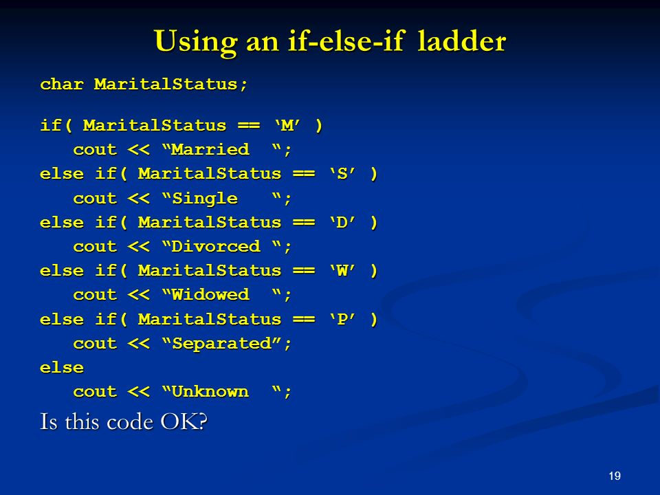 Using an if-else-if ladder