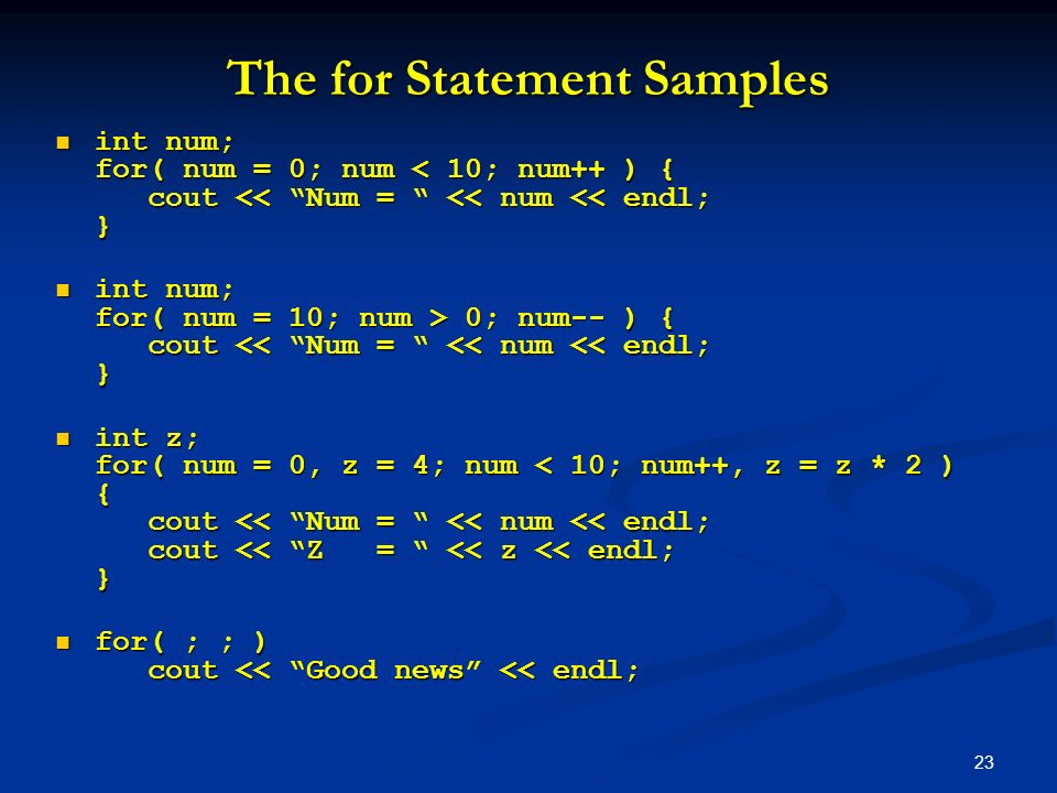 The for Statement Samples