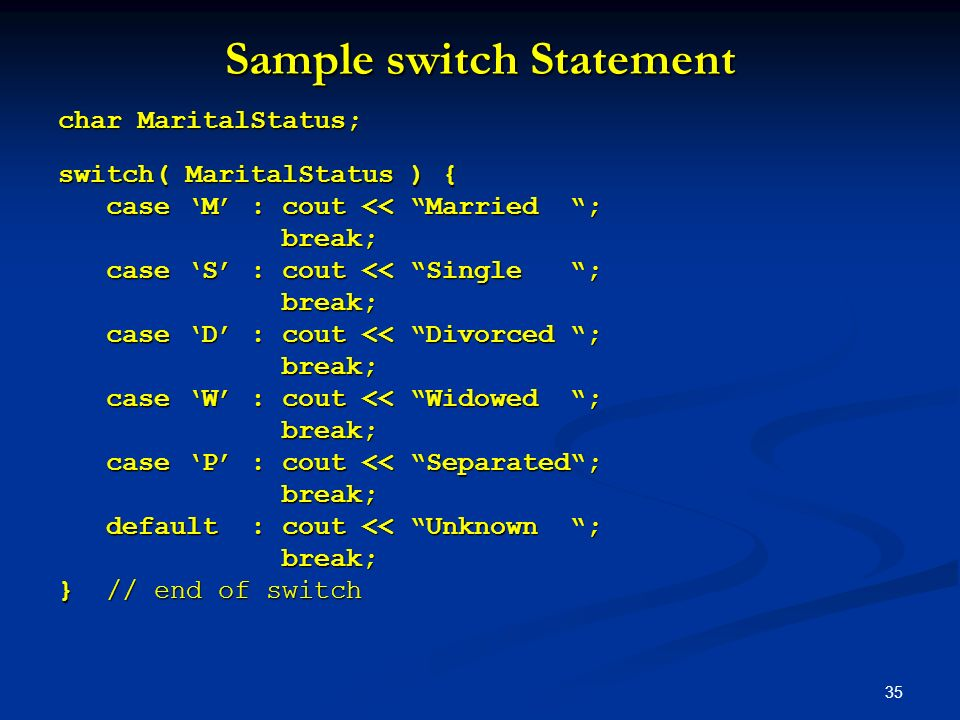 Sample switch Statement