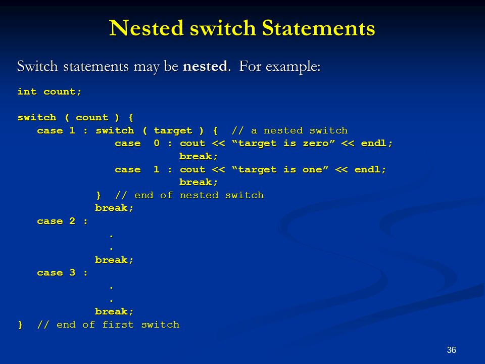 Nested switch Statements
