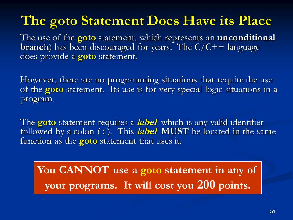 The goto Statement Does Have its Place