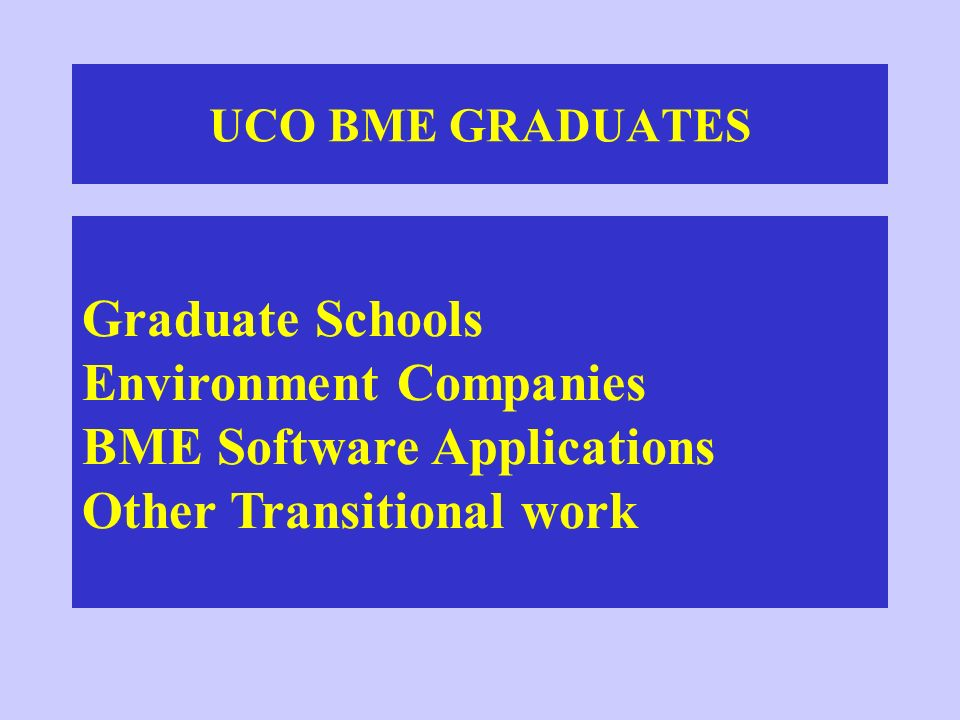 UCO BME GRADUATES Graduate Schools Environment Companies BME Software Applications Other Transitional work.