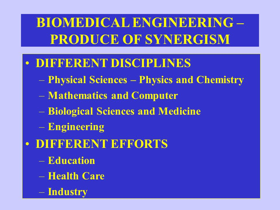 BIOMEDICAL ENGINEERING – PRODUCE OF SYNERGISM