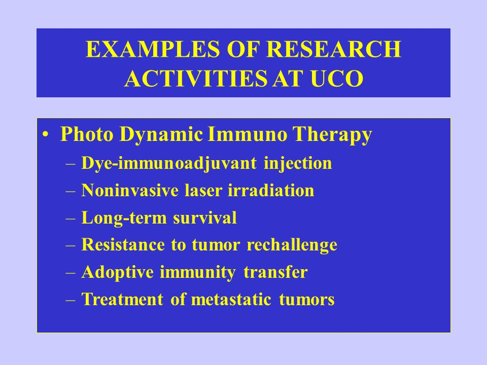 EXAMPLES OF RESEARCH ACTIVITIES AT UCO