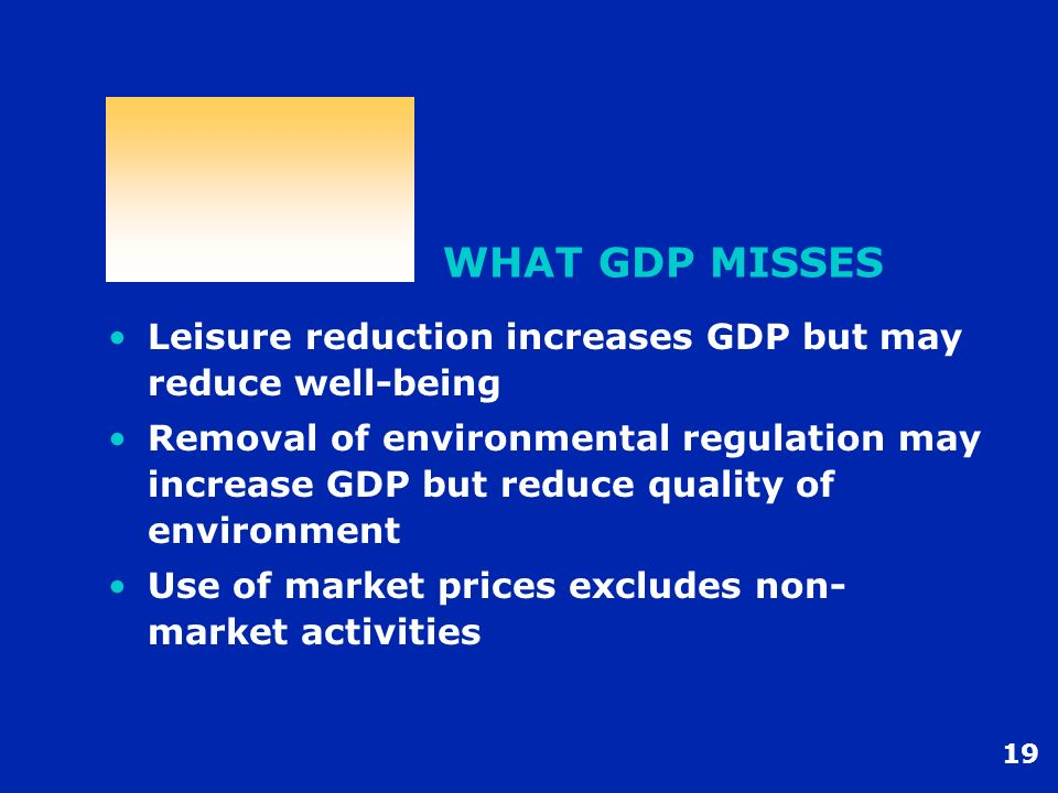 WHAT GDP MISSES Leisure reduction increases GDP but may reduce well-being.
