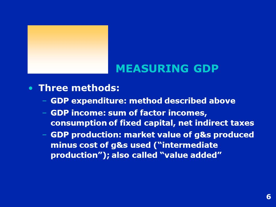 MEASURING GDP Three methods: GDP expenditure: method described above