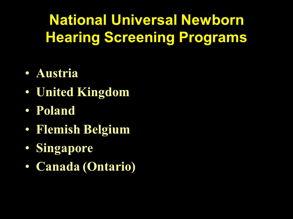 National Universal Newborn Hearing Screening Programs