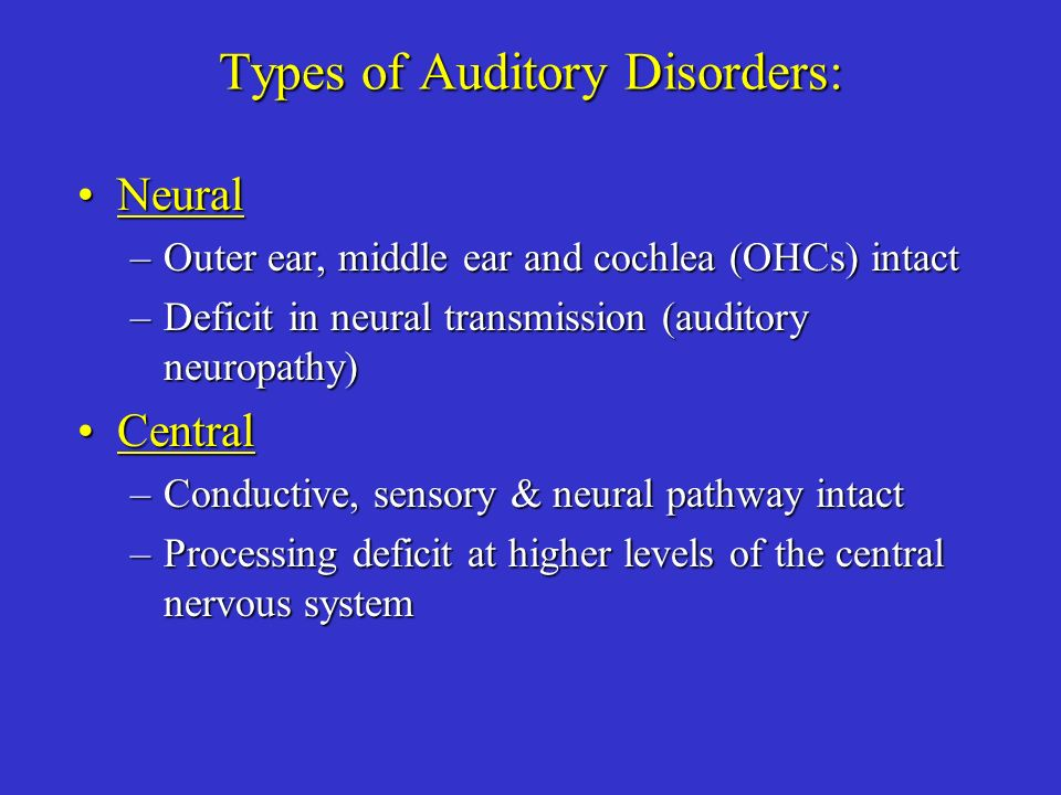 Types of Auditory Disorders: