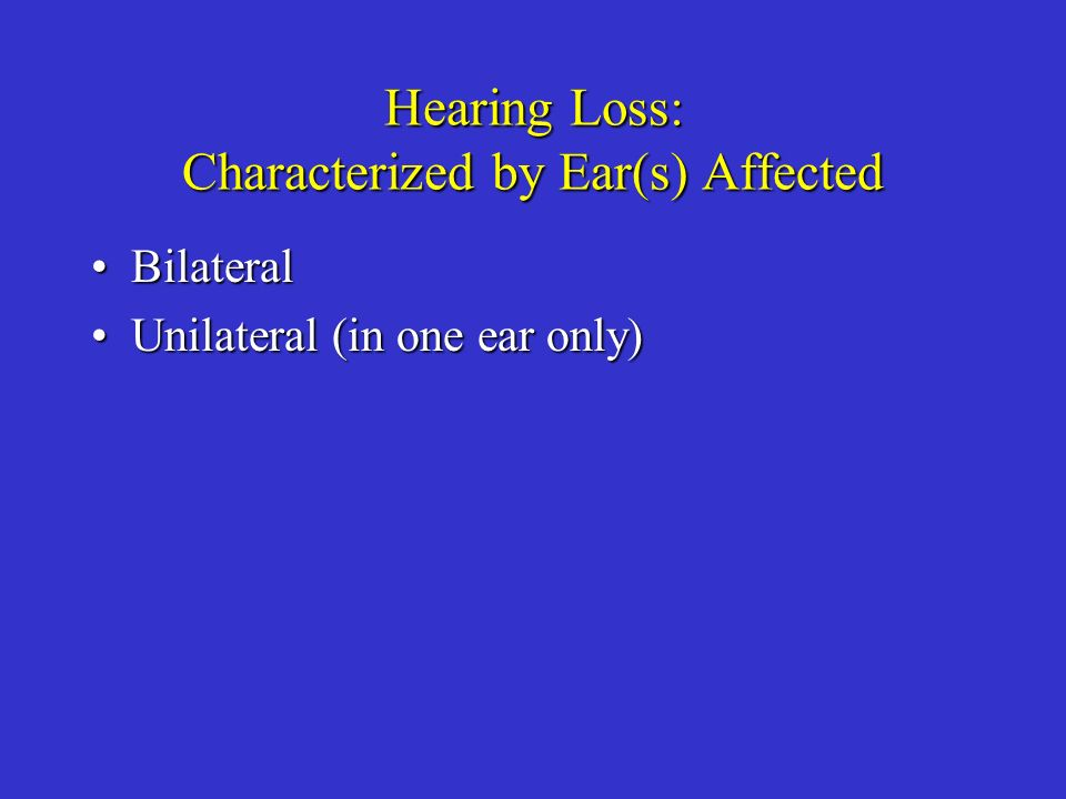 Hearing Loss: Characterized by Ear(s) Affected