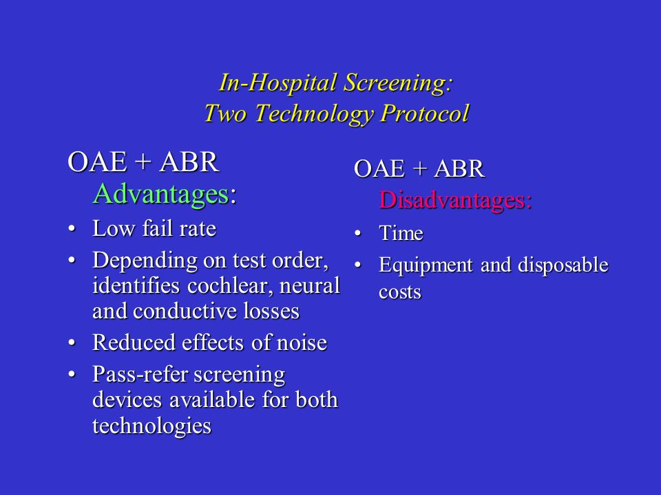 In-Hospital Screening: Two Technology Protocol