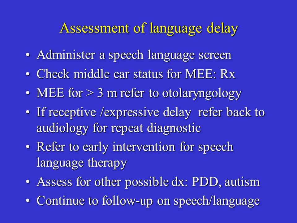 Assessment of language delay